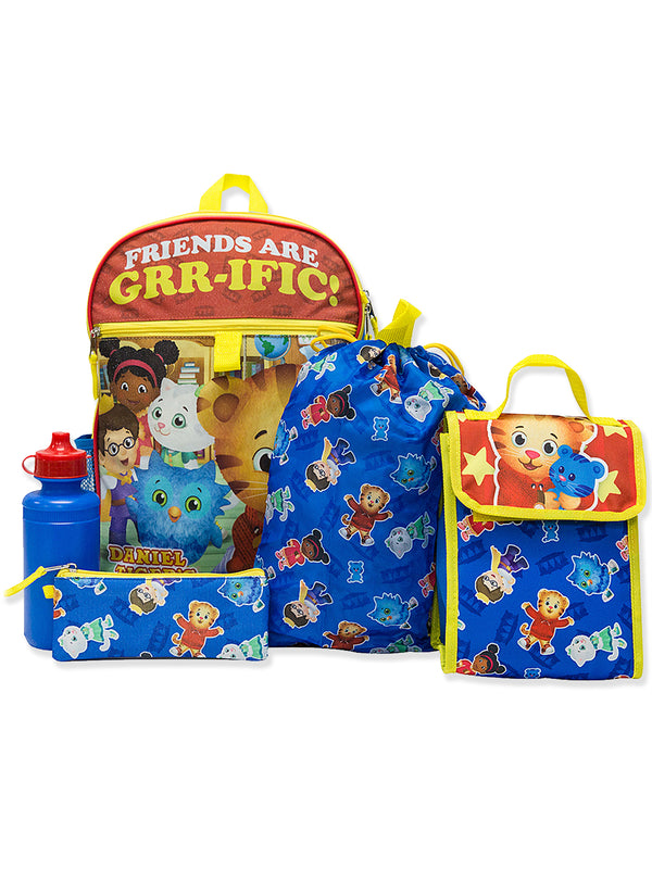 Daniel Tiger Girl's Boy's 5 piece Backpack and Snack Bag Set