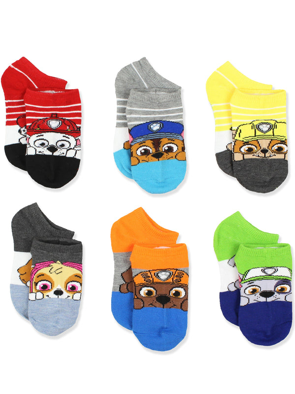 Paw Patrol Boys Girls 6 Pack No Show Socks