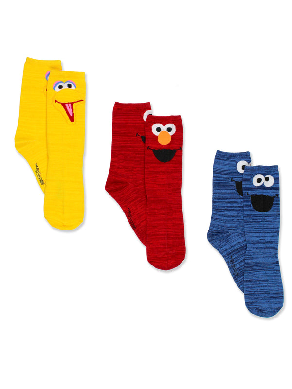 Sesame Street Teen Adult Mens Womens 3 pack Crew Socks Set
