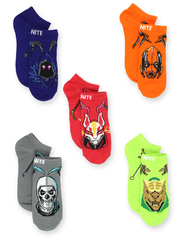 Fortnite Battle Royale Gamer Boy Girl Teen Adult 5 Pack No Show Socks