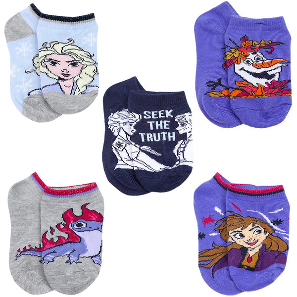 Disney Frozen 2 Elsa Anna Girls Toddler 5 Pack No Show Socks Set