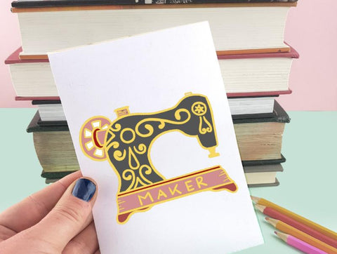 maker sewing machine artwork for lapel pins