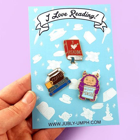 I love reading- enamel lapel pins for book lovers