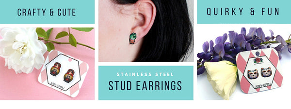 Crafty and fun, quirky and cute stud earrings by Jubly-Umph. Featuring designs such as the Day of the Deat kitty cat, sewing machine and sugar skulls