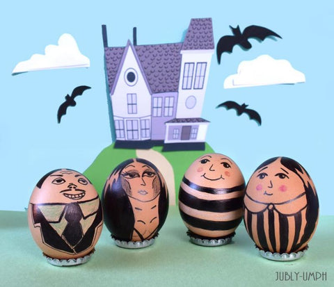 Addams Family DIY Easter Eggs and diorama by Jubly-Umph