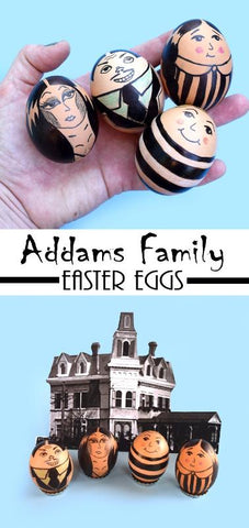 DIY Addams Fampily Inspired Easter Eggs- On The Jubly-Umph Blog