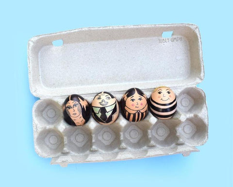 Addams Family Easter Eggs- Made using free range eggs, markers, and pencils. On the Jubly-Umph blog