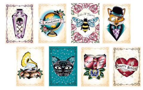 poison bottles, crafty yarn balls, dapper foxes and quirky tattoos. New art prints in store now