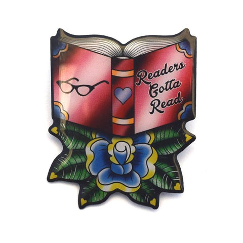 'Readers Gotta Read' book pin brooch by Jubly-Umph. Perfect for literature buffs and book lovers