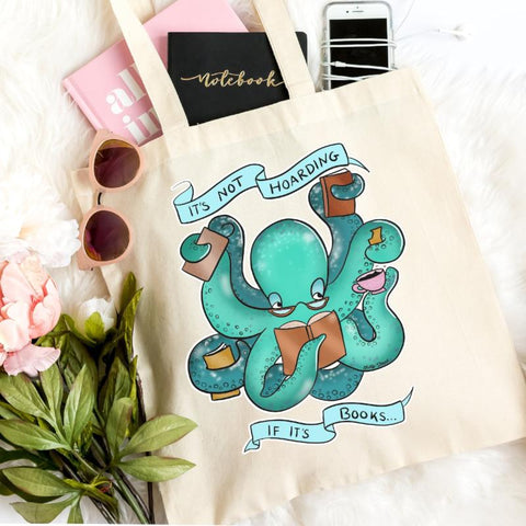 its not hoarding i its books booktopus tote bag