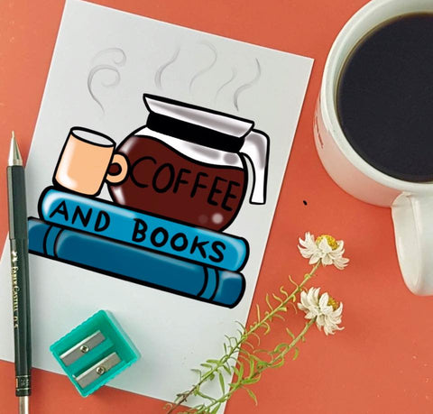 coffee and books illustration