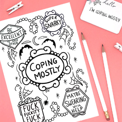 Coping mostly free colouring sheet