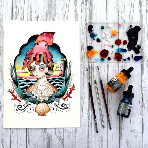 Lady Teuthida...The Squid Lady. This painting is inspired by a love of the sea, grumpy gals and tattoos