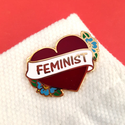 wear your feminist heart on your sleeve or on your lapel. either way you will love this pin