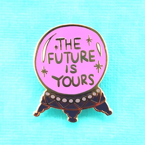 this crystal ball enamel pin will tell you that the future is yours
