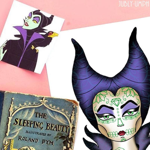 The evil sorceress and vintage sleeping beauty book