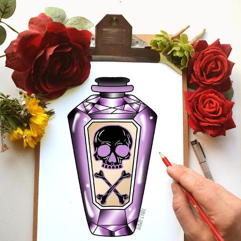Jubly-Umphs purple poison bottle illustration