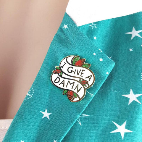 I give a dam enamel lapel pin