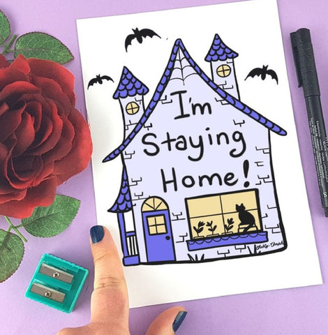 Im staying home haunted house illustration
