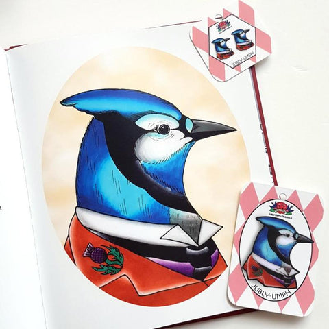 JM Barrie brooch and earrings. The creator of peter pan recreated as a blue jay