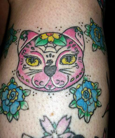 Day of the dead cat tattoo inspired by a Jubly-Umph illustration