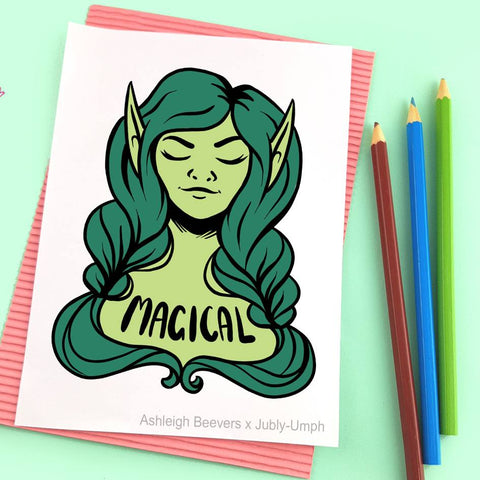 Magical green fairy lapel pin design