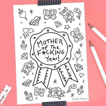 mother of the year FREE coloring sheet