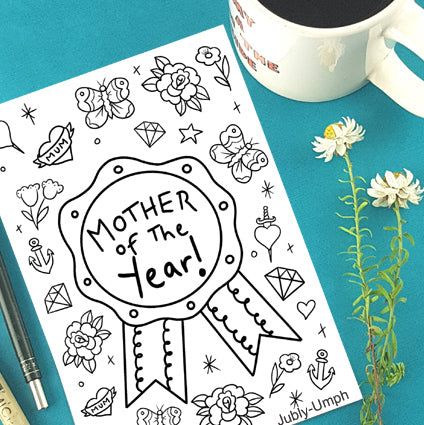 mother of the year free colouring in sheet