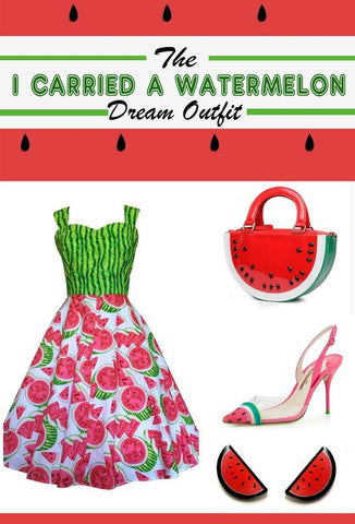 The I carried A Watermelon dream outfit. Inspired by Dirty Dancing and a love for all things fruity this post features cute items from Australian makers
