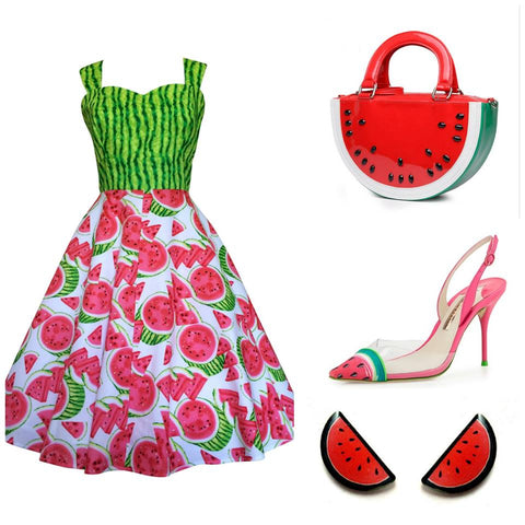 cute watermelon outfit post featuring rockabilly dressmaker Pigtails and Pirates, Quirky Earrings by Jubly-Umph and watermelon shoes and purse