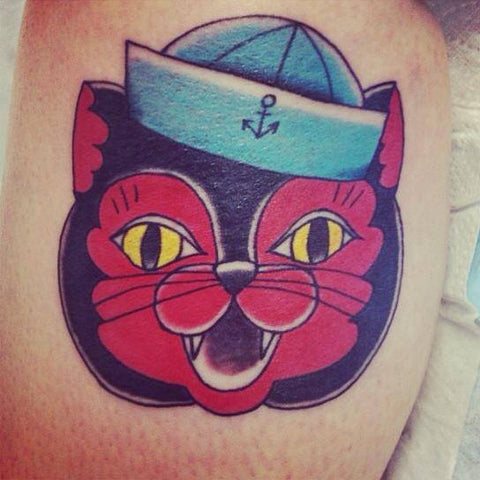 Sailor cat tattoo based on a Jubly-Umph painting