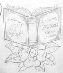 Initial pencil sketch for my Reaers Gotta Read Book illustration. I changed the text