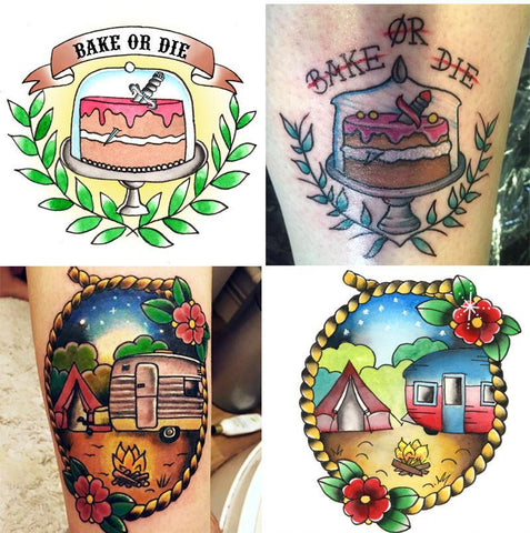 camping tattoo and bake or die tattoo