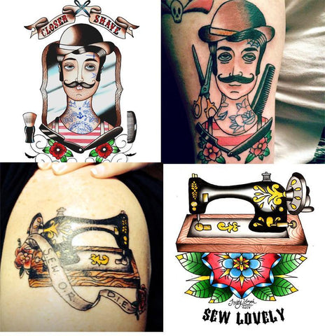 barber tattoo and sewing tattoo