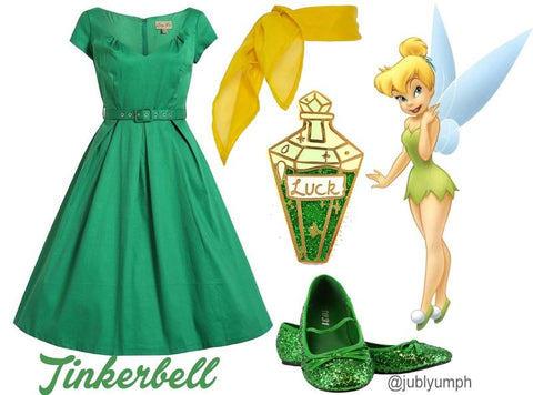 outfit ideas for a tinkerbell disneybounding costume featuring my lucky potion lapel pin