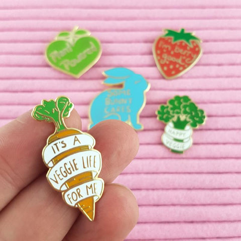 its a veggie life for me vegetarian and vegan enamel pin