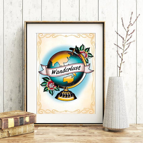 My Heart Is Filled With Wanderlust Tattoo Globe Print