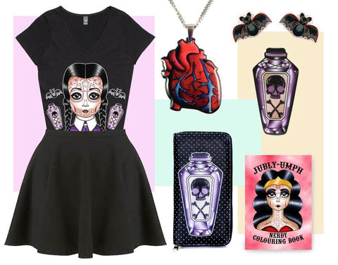 Wednesday addams spooky girl outfit- Featuring poison bottle wallet, quirky tshirt and bats
