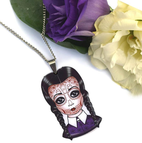 Spooky Wednesday pendant necklace made from stainless steel
