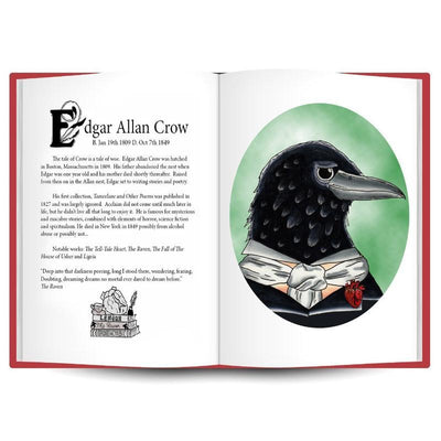 A book open to a page featuring the story of Edgar Allen Crow on the left side and a painting of an anthropomorphic crow on the right side