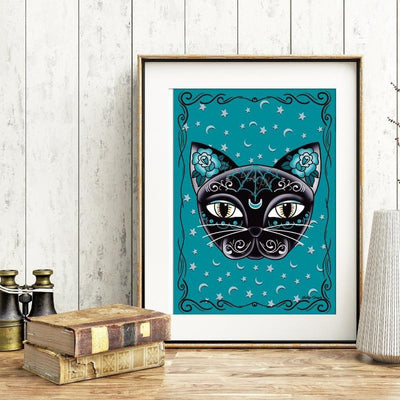 Little Black Cat Luna Kitty Print - Jubly-Umph -  Print, - 1