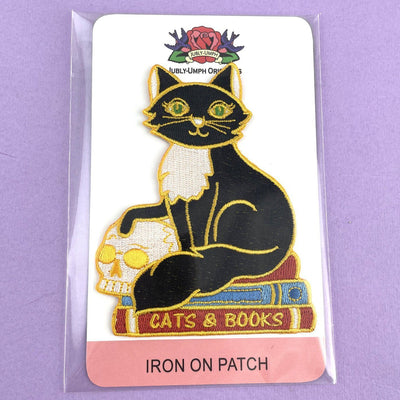 Cats And Books Embroidered Patch