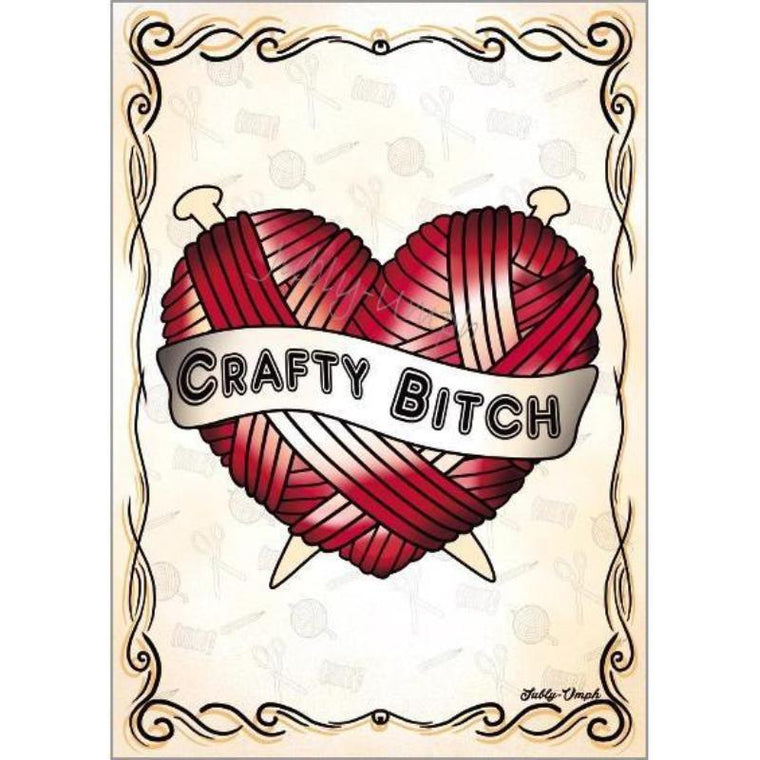 Crafty Bitch Yarn Heart Print - Jubly-Umph -  Print, - 2