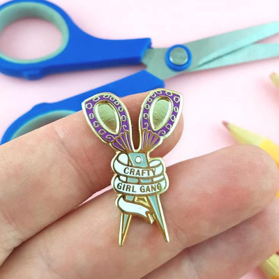 Crafty Girl Gang Scissors Lapel Pin - Purple