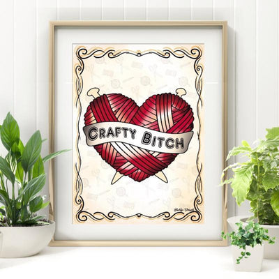 Crafty Bitch Yarn Heart Print - Jubly-Umph -  Print, - 1