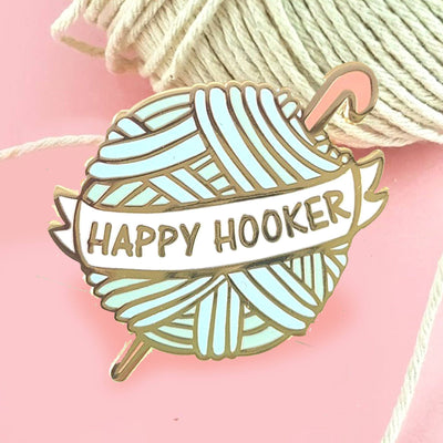 Happy Hooker Crochet Ball Lapel Pin