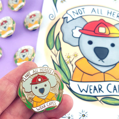 Not All Heroes Wear Capes - Firefighter Lapel Pin
