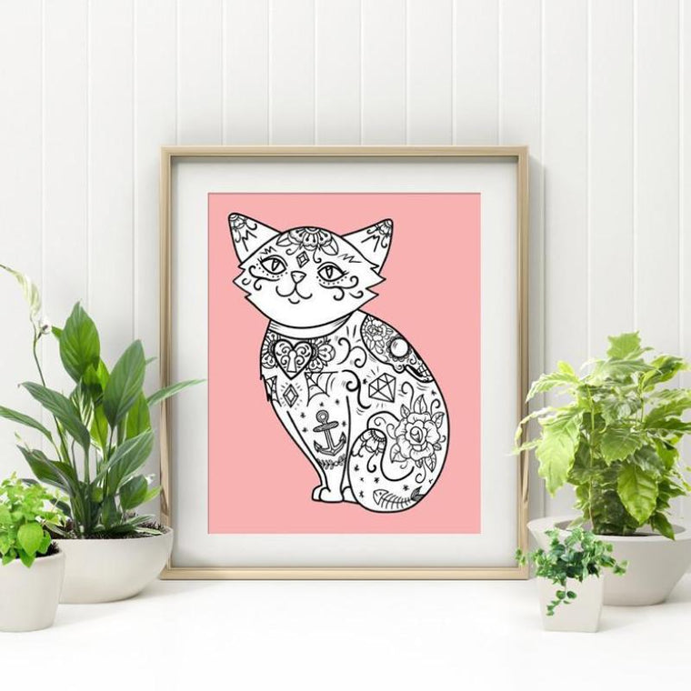 Tattooed Pink Cat Print - Jubly-Umph -  Print, - 1
