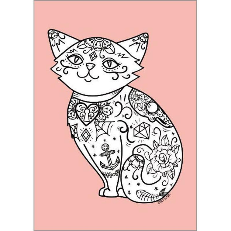 Tattooed Pink Cat Print - Jubly-Umph -  Print, - 2