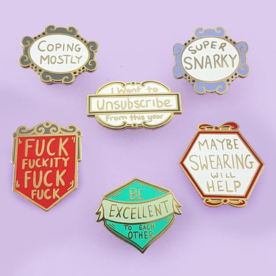 Coping Mostly Lapel Pin Set